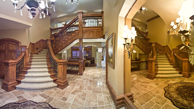 double quot  grand staircase traditional-entryGrand Double Staircase