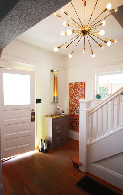Retro Foyer Lighting : Modern vintage living room and entry eclectic