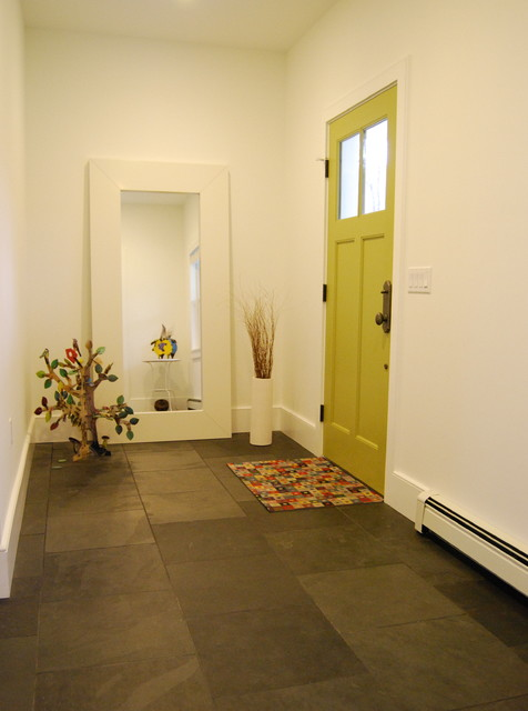 Contemporary Foyer Tile : Eclectic foyer with slate floor and bright green door