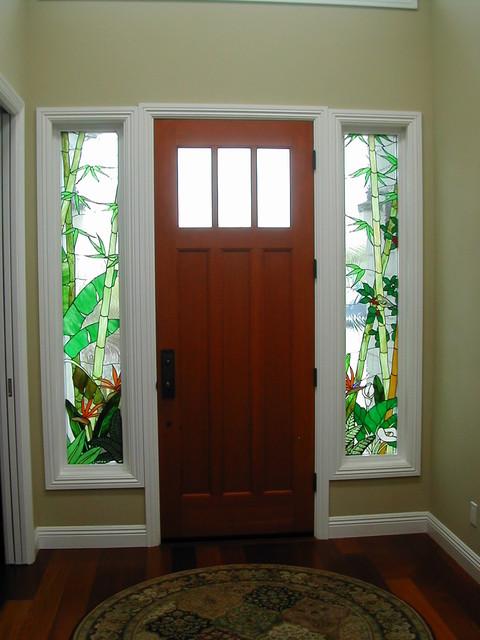 """Encinitas 'Craftsman"""" tropical entry traditional-entry"""