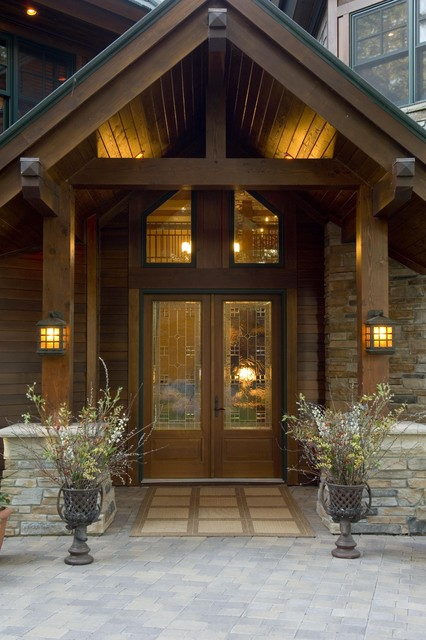 Entrance rustic entry minneapolis by gabberts for Open beam front porch