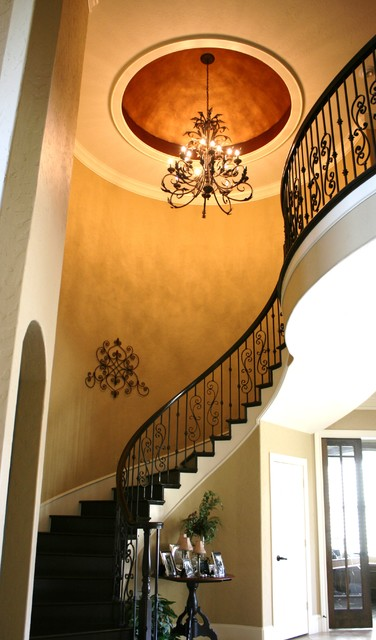 Entry dome and custom wrought iron railing traditional entry