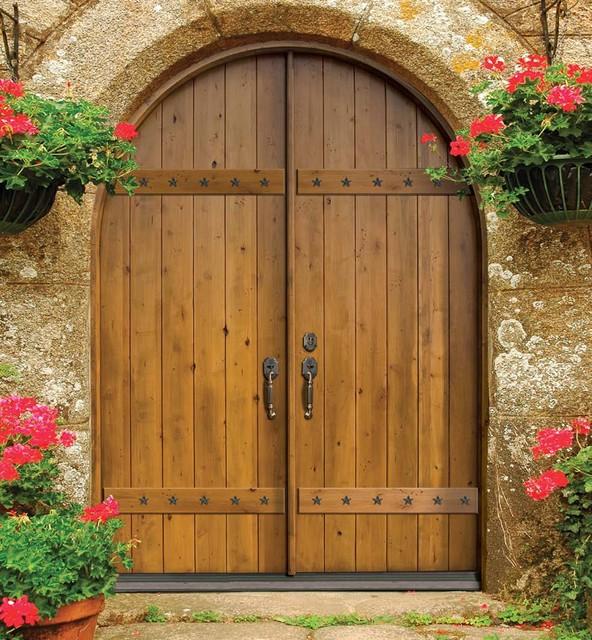 Entry double door 96 wood alder rustic plank round top for Round door design
