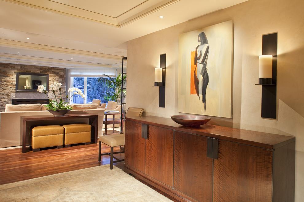 Entryway - contemporary entryway idea in Denver with beige walls