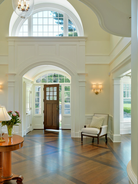Entry halls main stairs traditional entry boston for Entrance flooring ideas