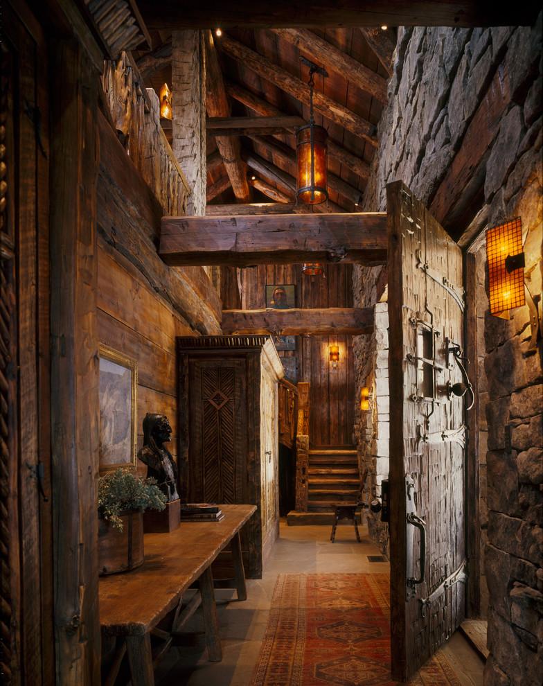 Mountain style single front door photo in Atlanta with a dark wood front door