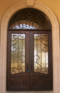 Square Top Iron Door With Round Transom