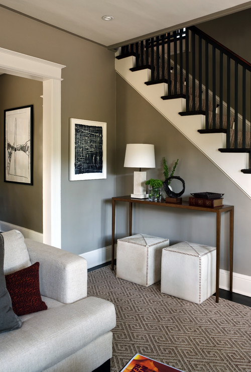 What is the color of the paint on the foyer wall for Foyer paint color decorating ideas
