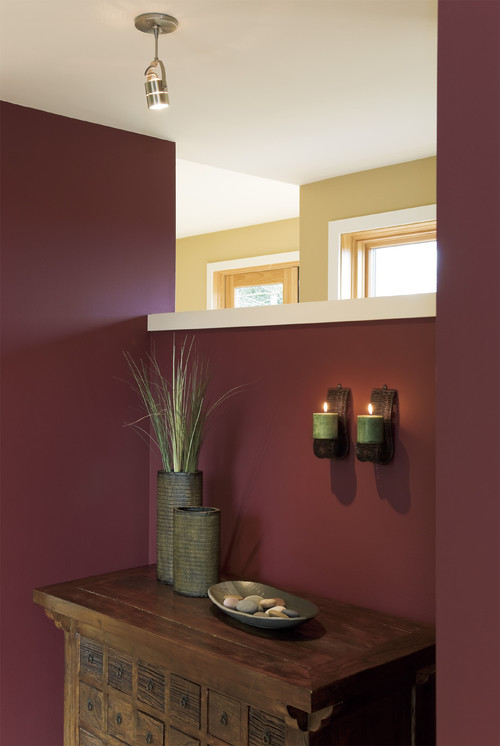 Color of the month decorating with burgundy abode for Maroon bathroom ideas