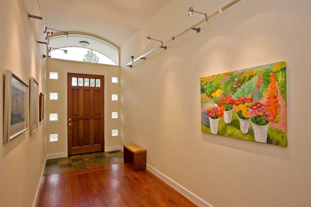 Entry With Barrel Vaulted Ceilings And Glass Block