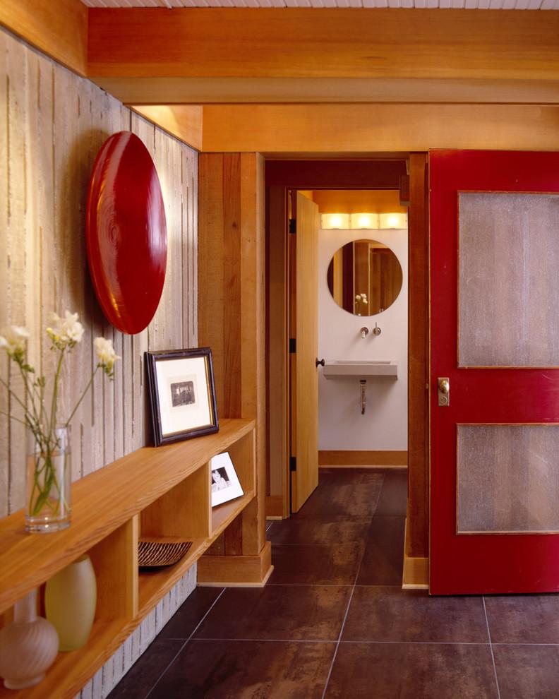 Single front door - contemporary single front door idea in Portland with a red front door