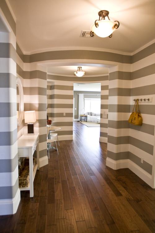 Wide stripes hung horizontally