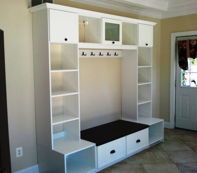 entryway benches with storage organizing | Entryway Storage with Hooks - Contemporary - Entry ...