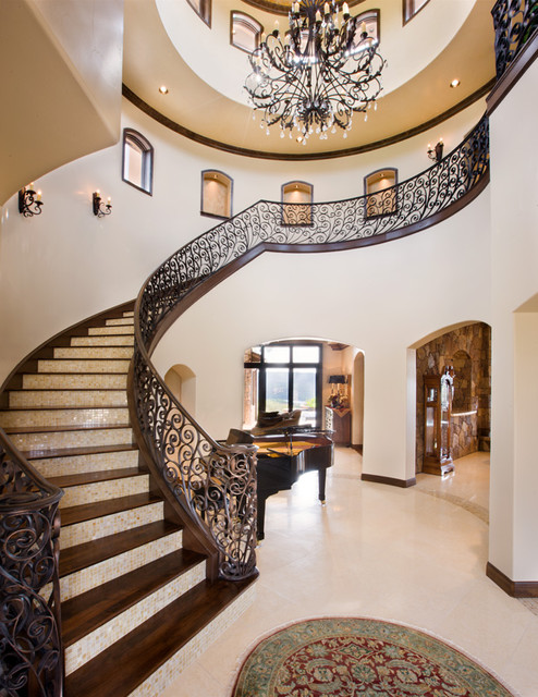 Entryway with Staircase mediterranean entry