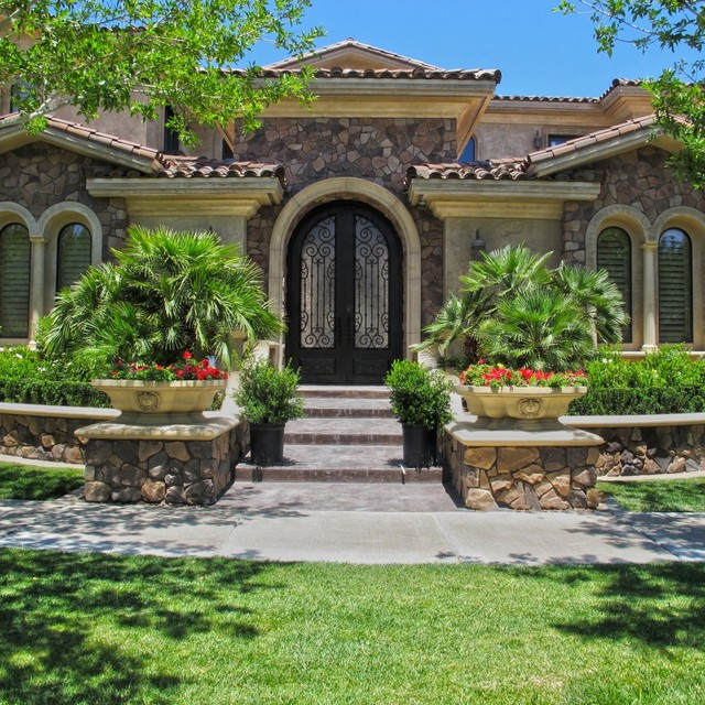 Mediterranean Style Home With Fantastic Curb Appeal: Entryways With Columns, Balustrades, Moldings, Trim, Etc