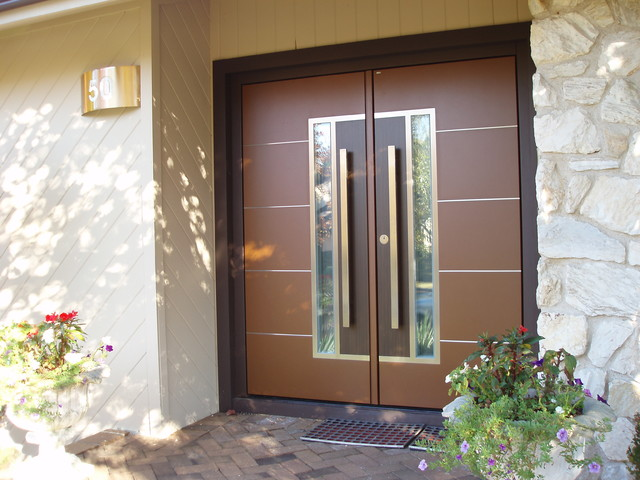 European Double Front Door Contemporary Entry New
