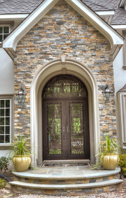 European Style Home With Natural Thin Stacked Stone