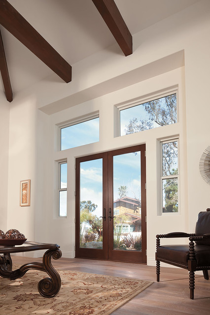 Exterior interior of frenchwood double hinged inswing for Double patio doors exterior