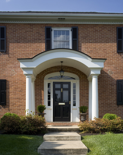 Exterior arch portico front entry traditional entry for Exterior entryway designs