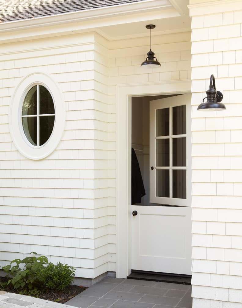 Exterior with white horizontal siding