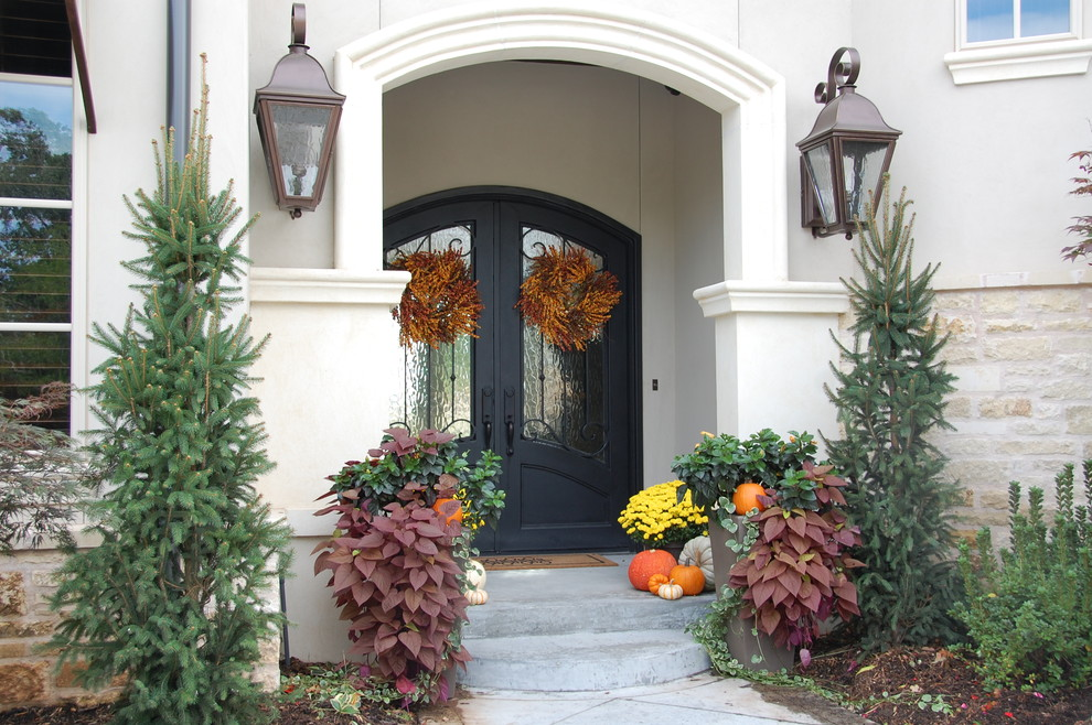 Entryway photo in Other with a black front door