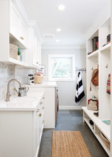 Family-Friendly Mudroom, Laundry & Guest Bath farmhouse-entry