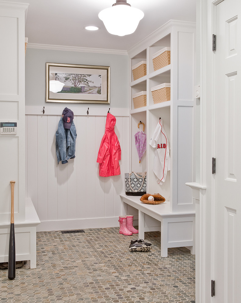 Inspiration for a timeless entryway remodel in Boston with gray walls