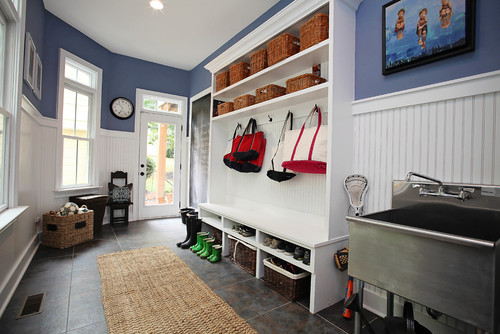 mudroom organization should address what people need coming into the house, like this sink to clean up