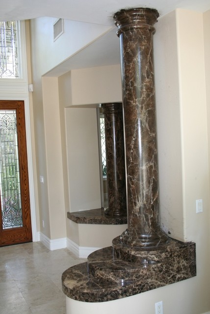 Faux Marble Foreplace And Columns Traditional Entry