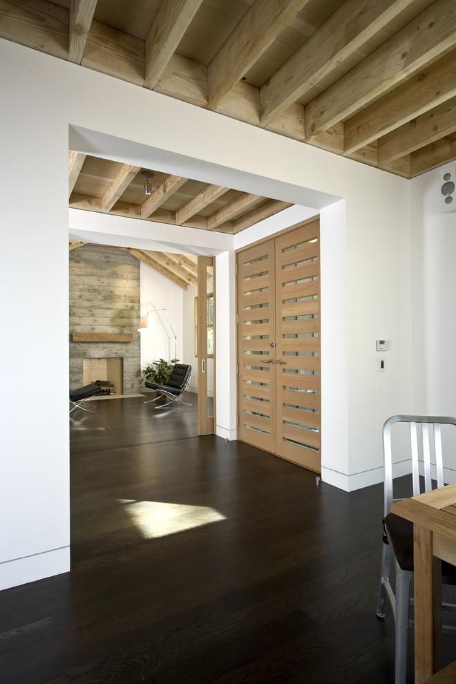 Transitional dark wood floor double front door photo in San Francisco with white walls