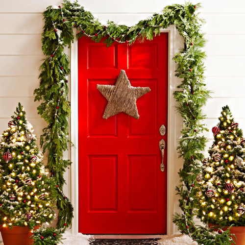 Bright red Christmas Front Door decorating idea
