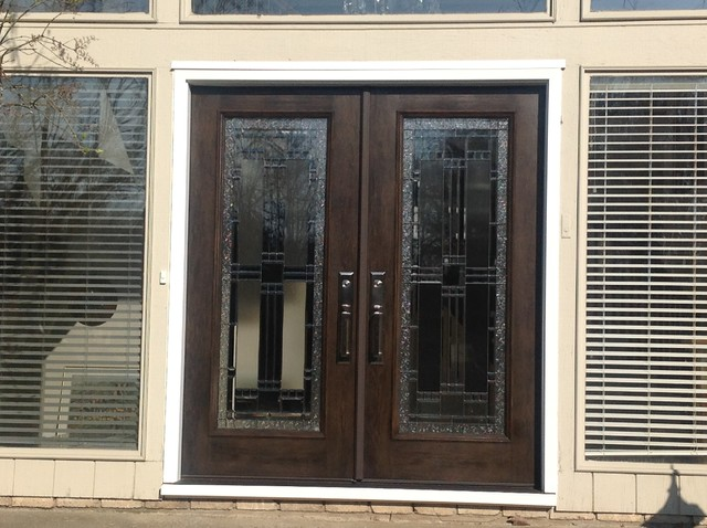Fiberglass beveled french glass entry doors pepper pike for All glass french doors