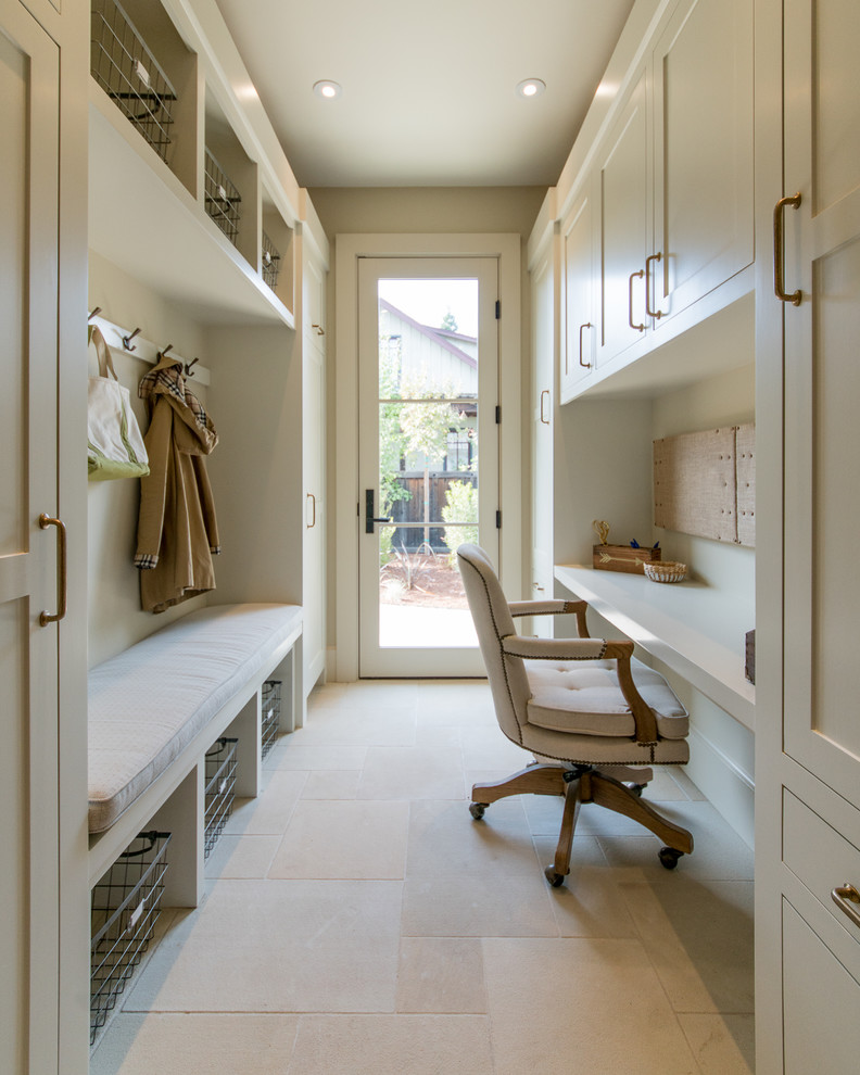 Mid-sized farmhouse mudroom photo in San Francisco with beige walls