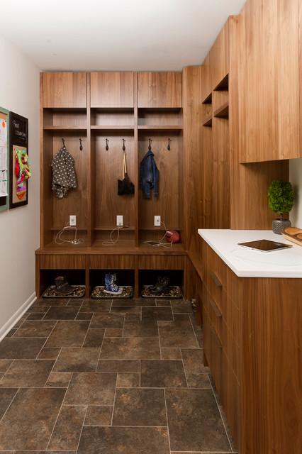 Entryway - mid-sized contemporary porcelain floor entryway idea in Minneapolis with gray walls