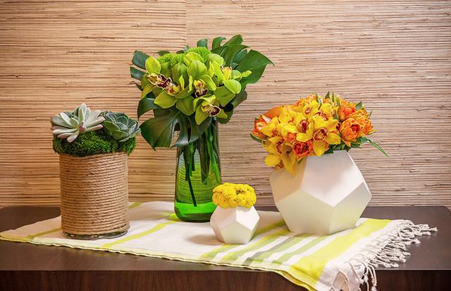 Floral Table Top Vignette contemporary-entry