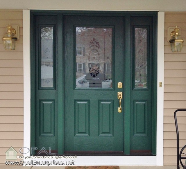 Forest Green Door With Beige Siding Provia Fiberglass