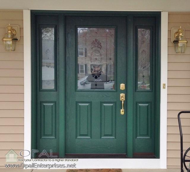 Forest Green Door With Beige Siding Provia Fiberglass