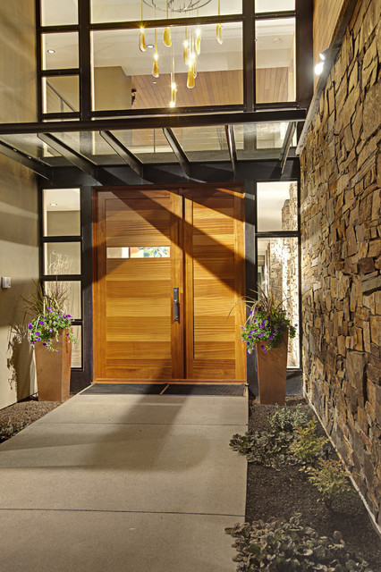 Forest House - Exterior features contemporary entry