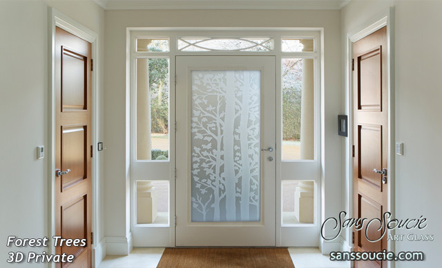 Forest Trees 3d Private Glass Front Doors Exterior Glass Doors