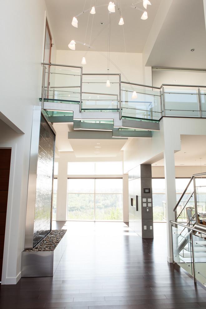 Entryway - modern entryway idea in Edmonton with white walls