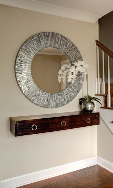 Foyer remodel contemporary entry chicago by for Hallway mirror and shelf