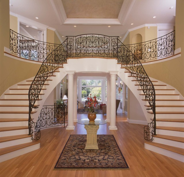 Foyer staircase for House plans with stairs in foyer