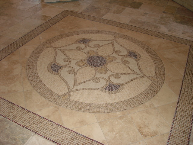 Foyer Tile Floor Detail Traditional Entry