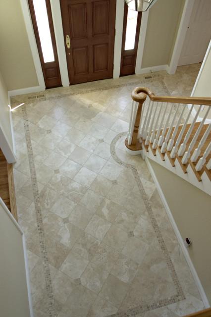 Foyer tile installation for Tiled foyer entrance