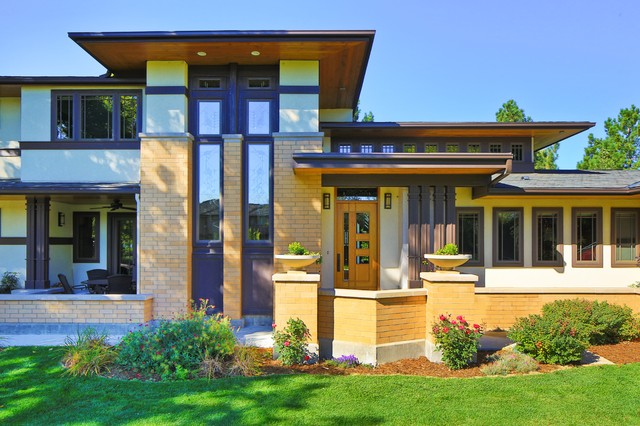 frank lloyd wright inspired house craftsman entry denver by porchfront homes. Black Bedroom Furniture Sets. Home Design Ideas