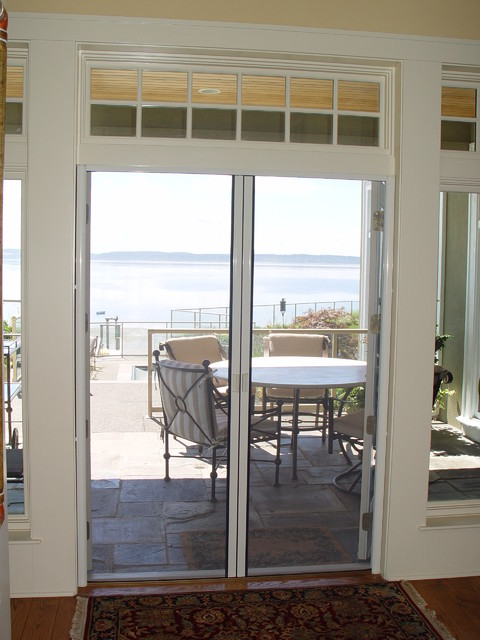 French door double retractable screen contemporary for Hidden screens for french doors