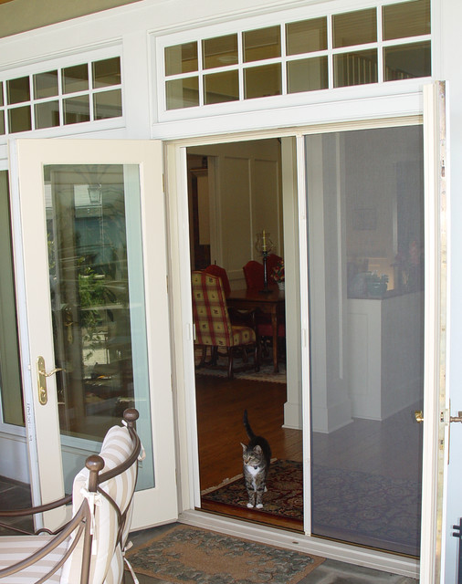 French door double retractable screen traditional for Retractable screen door for double french doors