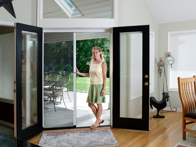 French door double retractable screen traditional for Best rated retractable screen doors