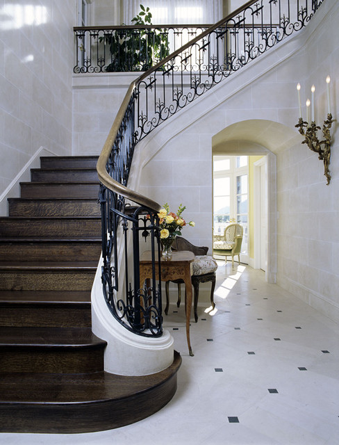 French-inspired Entry Hall and Stair in CA traditional-entry