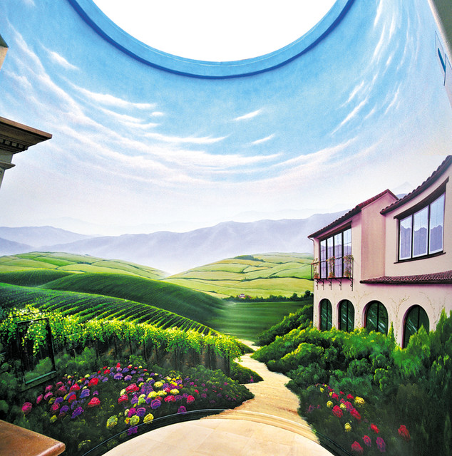 French Vineyard Circular Mural Mediterranean Entry